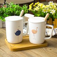 火烈鸟杯子陶瓷带盖勺马克杯日式小清新办公室咖啡杯简约文艺水杯