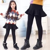 加绒加厚中大童外穿女童打底裤裙假两件裤子儿童裙裤