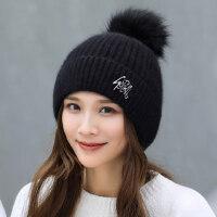 潮流百搭保暖时尚套帽女 潮甜美护耳毛线帽子 韩版可爱加绒帽子女纯色毛球帽子