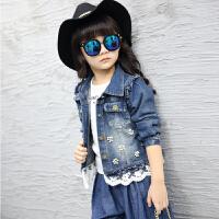 女童春秋款牛仔上衣中大童时尚外套珍珠花边牛仔外套