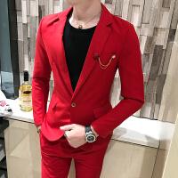 新款青年简约粒扣小西装男士修身免烫西装西裤两件套装伴郎礼服