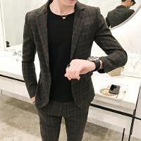 商务青年绅士休闲粒扣西服西裤两件套装男士修身免烫格子礼服潮