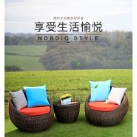 户外阳台沙发藤椅三件套藤编桌椅懒人躺椅休闲圆形沙发茶几组合 双人