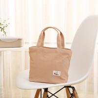 日式夏款清新女士帆布便当包饭盒袋带饭包手提袋补习袋妈咪包背奶 肉粉
