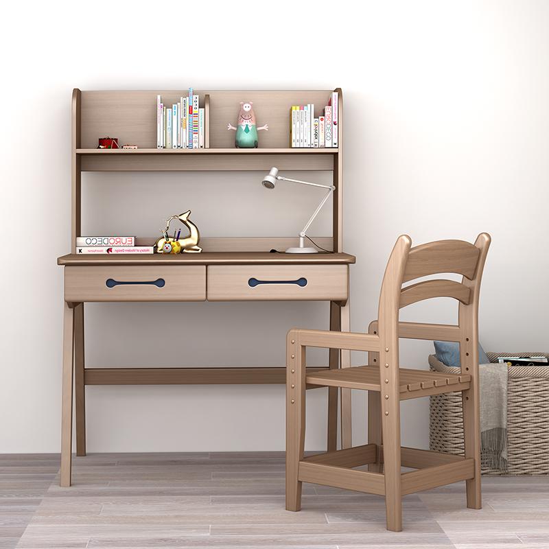 美式家具纯实木北欧直角书架书桌白蜡木电脑桌可调节椅子组合 +椅子