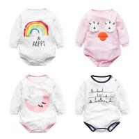 婴儿连体衣服宝宝新生儿季0岁6个月潮款三角哈衣长袖冬季
