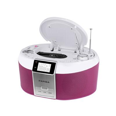 熊猫CD-560 DVD机学生英语听力教学用CD播放机USB插卡U盘收音MP3光盘播放器早教胎教遥控一体机多功能小型 玫红