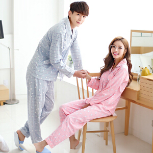 雪俐情侣睡衣家居服2017新款针织棉男女士长袖卡通韩版套装