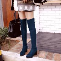 彼艾2017秋冬新款韩版瘦腿弹力靴防水台粗跟高跟过膝长靴磨砂女鞋女靴子
