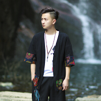 中国风男装薄外套复古中式开衫男士春夏亚麻棉汉服披风七分袖 L 建议125-140斤
