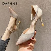 达芙妮2021年春新款尖头一字扣带高跟鞋包头水钻单鞋婚鞋女新娘鞋
