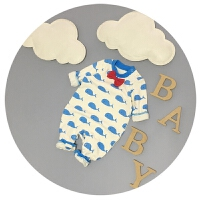 婴儿连体衣春秋纯棉新生儿韩版卡通衣服潮3-6-9个月男宝宝爬爬服
