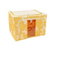 普润 66L黄色 牛津布钢架百纳箱 整理收纳箱 黄色树叶 单视 双开门