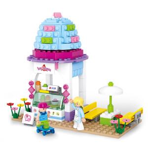 【当当自营】小鲁班新粉色梦想小镇女孩系列儿童益智拼装积木玩具 雪糕屋M38-B0525
