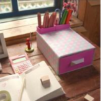 普润 粉蓝圆点桌面收纳盒整理盒 抽屉盒 2个笔筒