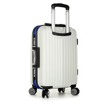 拉杆箱万向轮pc密码行李箱 英伦时尚登机旅行箱包 白色 22寸