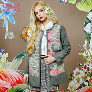 妖精的口袋结绳记事冬装女欧美时尚迷彩圆领毛呢大衣外套女中长
