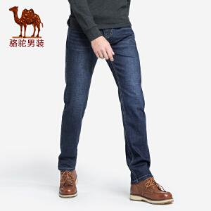 骆驼男装 2018秋季新款青年中腰直筒酵素洗微弹日常休闲牛仔裤男