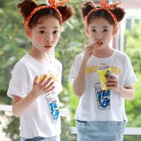 女童短袖上衣夏季2018新款韩版时尚中大童字母印花宝宝夏装T恤潮