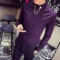 韩版修身免烫衬衫领子金属装饰男士长袖衬衣纯色发型师时尚服装潮