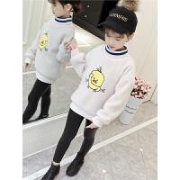 韩版儿童加绒加厚洋气仿貂绒高领套头打底衫时尚女童毛衣