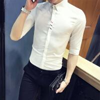短袖衬衫青少年学生百搭白衬衣韩版修身发型师七分袖寸衫