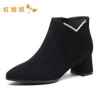 红蜻蜓女鞋冬季清仓冬靴粗跟尖头绒面高跟气质优雅短靴女靴