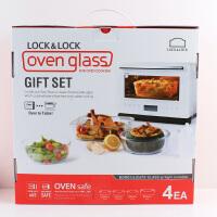 乐扣乐扣格拉斯四件套耐热玻璃保鲜盒套装礼盒LLG861S002