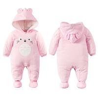 婴儿连体衣服0岁3个月6宝宝3新生儿冬装冬季棉衣哈衣季装