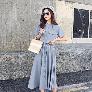 RANJU然聚 2018夏季女装新品新款韩版学生高腰复古衬衫连衣裙女夏中长款过膝收腰显瘦裙子