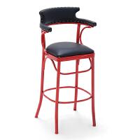 复古铁艺吧台椅酒吧椅咖啡餐厅高脚凳靠背现代简约高脚椅子家用 红色