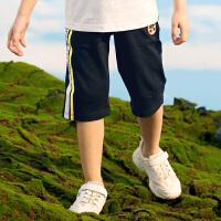 【3件3折到手价:69】小猪班纳童装男童七分裤夏季新款儿童条纹纯棉裤子中大童休闲裤
