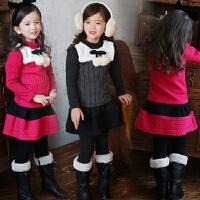 **儿童装女童加绒加厚卫衣套装2018春冬装新韩宝宝衣服A071