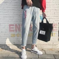 有氧2018春装男士四季破洞学生小脚裤潮男牛仔裤长裤子潮流男装