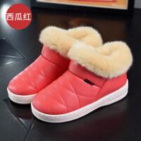 棉鞋女 保暖棉拖鞋包跟情侣居家室内加绒厚底PU皮防水