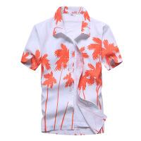 海南三亚旅游男士沙滩衬衣宽松速干衬衫薄2018夏季短袖碎花沙滩衣