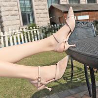 凉鞋女半包头ins新款夏季时尚百搭尖头温柔仙女风细跟高跟鞋