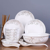 18件碗盘碟套装家用景德镇瓷碗筷陶瓷器吃饭套碗盘子中式组合餐具-简爱世家4碗4盘4勺4筷1汤碗1汤