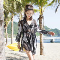 泳衣女性感胖mm遮肚显瘦韩国宽松罩衫款分体大码比基尼三件套 黑色 2X