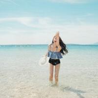 韩版分体荷叶边保守小胸聚拢泳衣女抹胸高腰显瘦比基尼温泉游泳装 浅蓝色