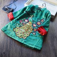 新年装中国风女童加绒旗袍连衣裙2017冬季新款民族唐装儿童旗袍裙