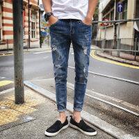 秋季弹力牛仔裤男士修身小脚韩版潮流青少年男生破洞款男裤子 蓝色