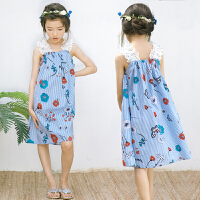 女童裙子2018春夏季新款童装无袖吊带花纹连衣裙中大童条纹蕾丝裙