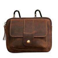 手工男士腰包男士小包穿皮带多功能挂包牛皮手机包潮 皮深棕色