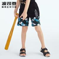 波司登(BOSIDENG)童装夏季字母刺绣男童迷彩休闲运动短裤