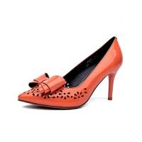 红蜻蜓女鞋新款时尚透气舒适靓丽休闲简约尖头细跟高跟单鞋-
