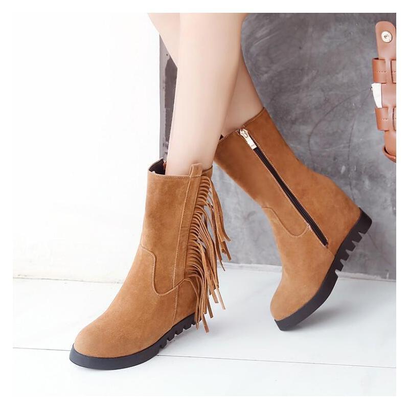 韩版休闲女鞋高跟少女大学生坡跟流苏靴单靴子女春秋冬季半桶
