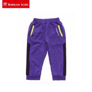 探路者Toread kids 夏季新款男童拼色罗纹收口针织七分裤