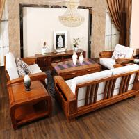 实木沙发组合乌金木布艺沙发组合 纯客厅全中式实木家具