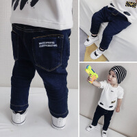 韩版儿童加绒牛仔裤男童潮裤17冬款 英文印花宝宝裤子